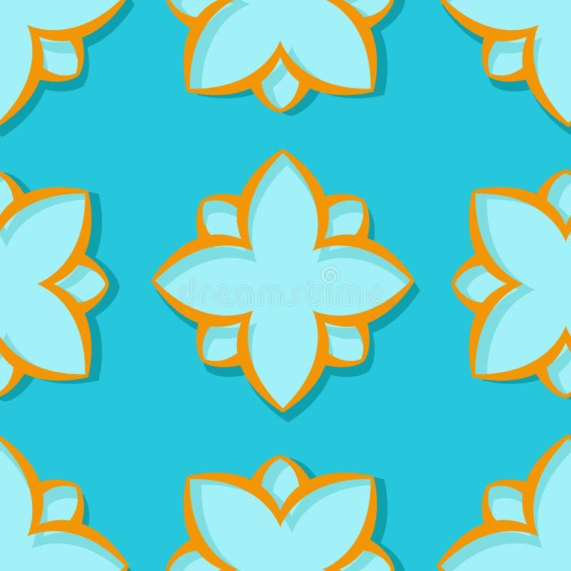 bezszwowy wzoru Kwiecisty błękitny i pomarańczowy 3d tło royalty ilustracja