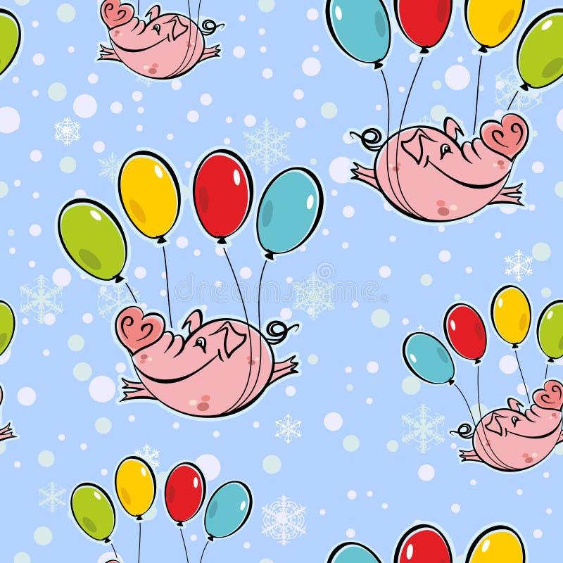 bezszwowy wzoru Latające świnie na balonach Niebo płatki śniegu wektor ilustracja wektor