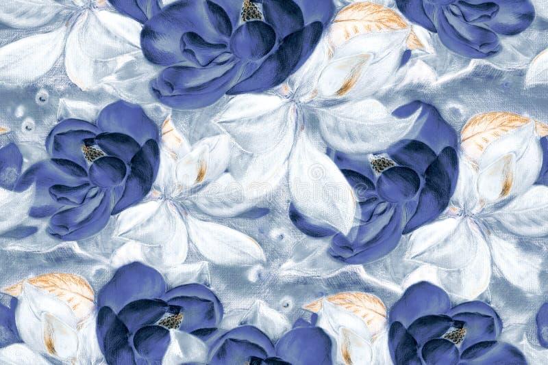 bezszwowy wzoru Magnolia Rysunkowy pastel Kwiaty na drzewie wally 3d wysokiego ilustracyjnego postanowienia drzewny tulipanowy bi ilustracji