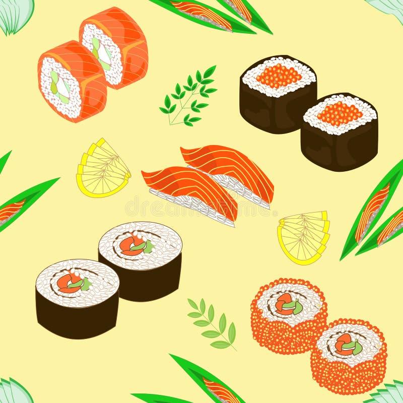 bezszwowy wzoru Naczynia krajowa Japońska kuchnia, suszi, rolki, ryba Stosowny jako tapeta w kuchni dla pakować jedzenie, ilustracja wektor