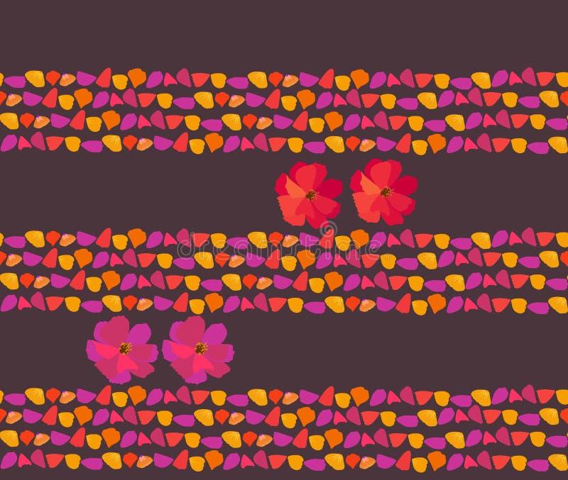 bezszwowy wzoru Paski płatki i jaskrawi kosmosów kwiaty na ciemnym purpurowym tle Druk dla tkaniny ilustracji