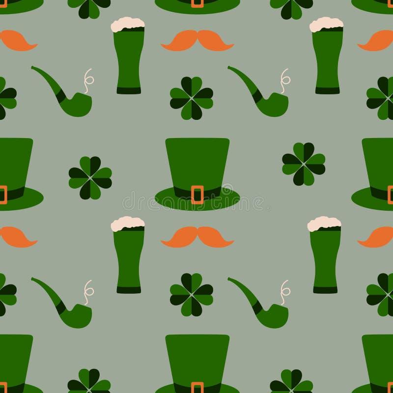 bezszwowy wzoru Patrick jest dzień św Irlandzki wektor ilustracja wektor