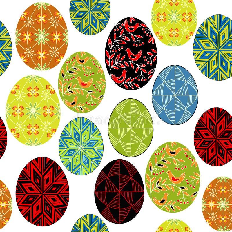 bezszwowy wzoru Piękni Wielkanocni jajka, malujący z różnymi wzorami Stosowny jako tapeta, dla pakować prezenty dla wielkanocy ilustracji
