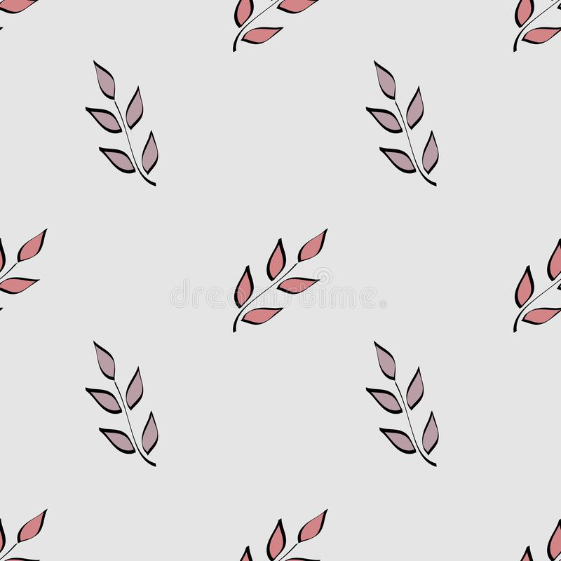 bezszwowy wzoru Prosta ręka rysujący kwiecisty motyw Gałązki z liśćmi malującymi z muśnięciem Stosowny dla tkanin ilustracji