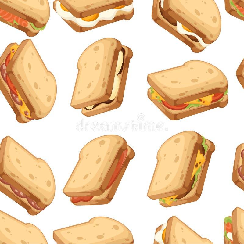 bezszwowy wzoru R??norodna ikony kolekcja mi?sa i warzywa kanapki chleb sk?adany 2 Słodki smakowity śniadanie lub post royalty ilustracja