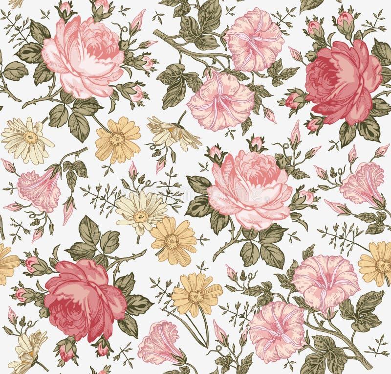 bezszwowy wzoru Realistyczni odosobneni kwiaty ornamentu geometryczne tła księgi stary rocznik ilustracja wektor