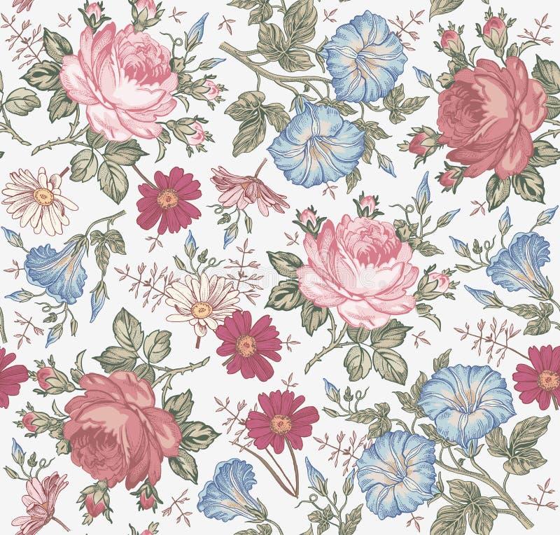 bezszwowy wzoru Realistyczni odosobneni kwiaty ornamentu geometryczne tła księgi stary rocznik royalty ilustracja
