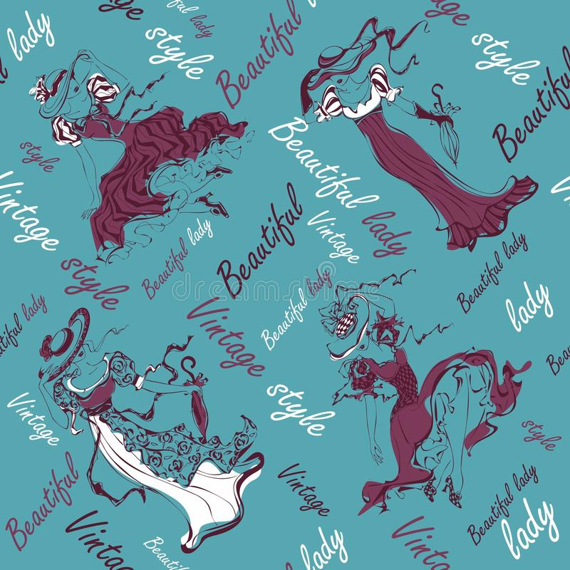 bezszwowy wzoru Rocznik dziewczyny Piękne damy w roczników kapeluszach i strojach inskrypcje ilustracyjny lelui czerwieni stylu r royalty ilustracja