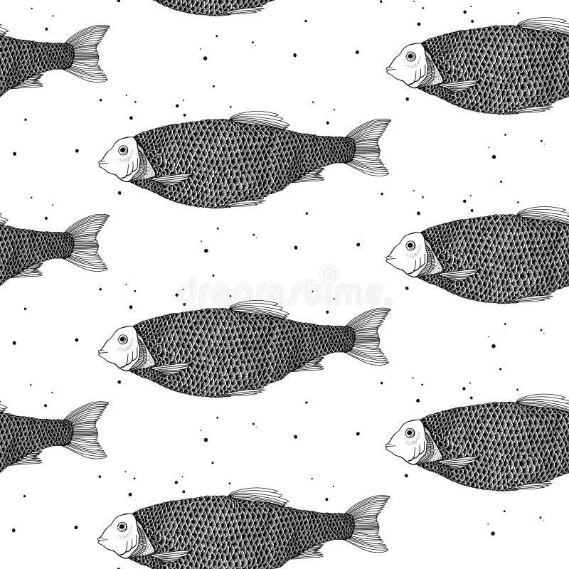bezszwowy wzoru ryb gdy dekoracyjna t?o grafika stylizowa? wektorowe zawijas fala fotografia stock