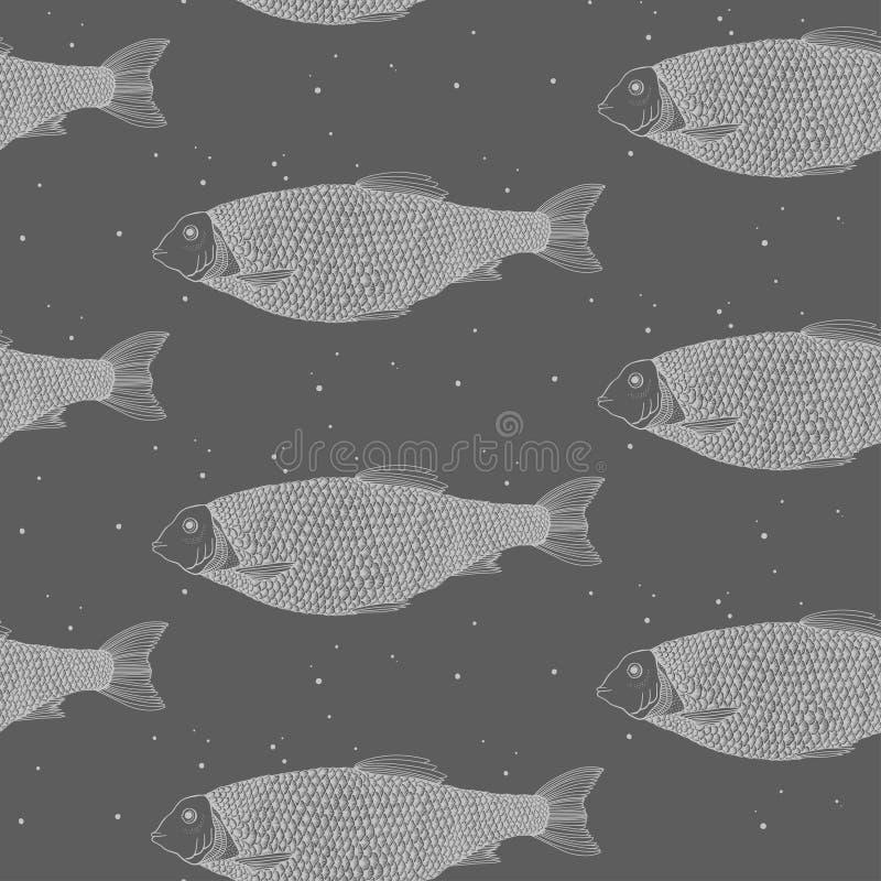 bezszwowy wzoru ryb gdy dekoracyjna t?o grafika stylizowa? wektorowe zawijas fala obrazy stock