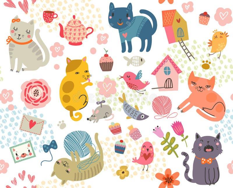 bezszwowy wzoru Set śliczni koty i ptaki ilustracja wektor