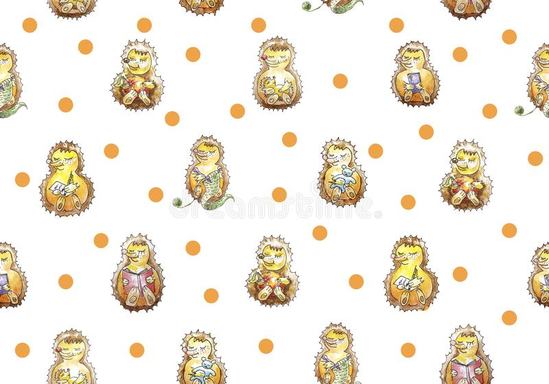 Bezszwowy wzoru set rodzina siedem życzliwych jeżów które mają zabawę Czytać, dziający, jedzący, spać, bawić się, cal royalty ilustracja