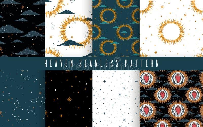 Bezszwowy wzoru set z nocnym niebem chmur gwiazdy, gwiazdozbiory i słońce Pi?kny elegancki magiczny abstrakcjonistyczny obrazek d ilustracji