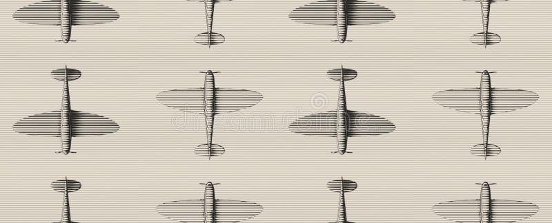 bezszwowy wzoru Starego woodcut stylizowani samoloty nad pasiastym tłem royalty ilustracja