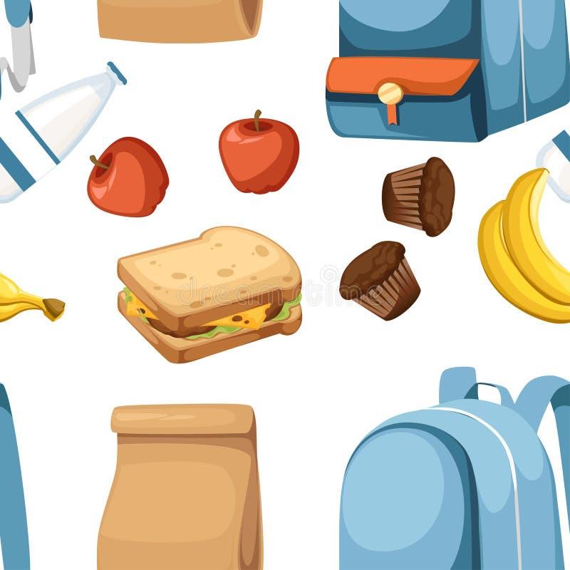 bezszwowy wzoru Szkolna torba i lunch papierowa torba z sokiem, jab?kiem i kanapk?, Przetwarza brown papierow? torb? P?aska wekto fotografia royalty free