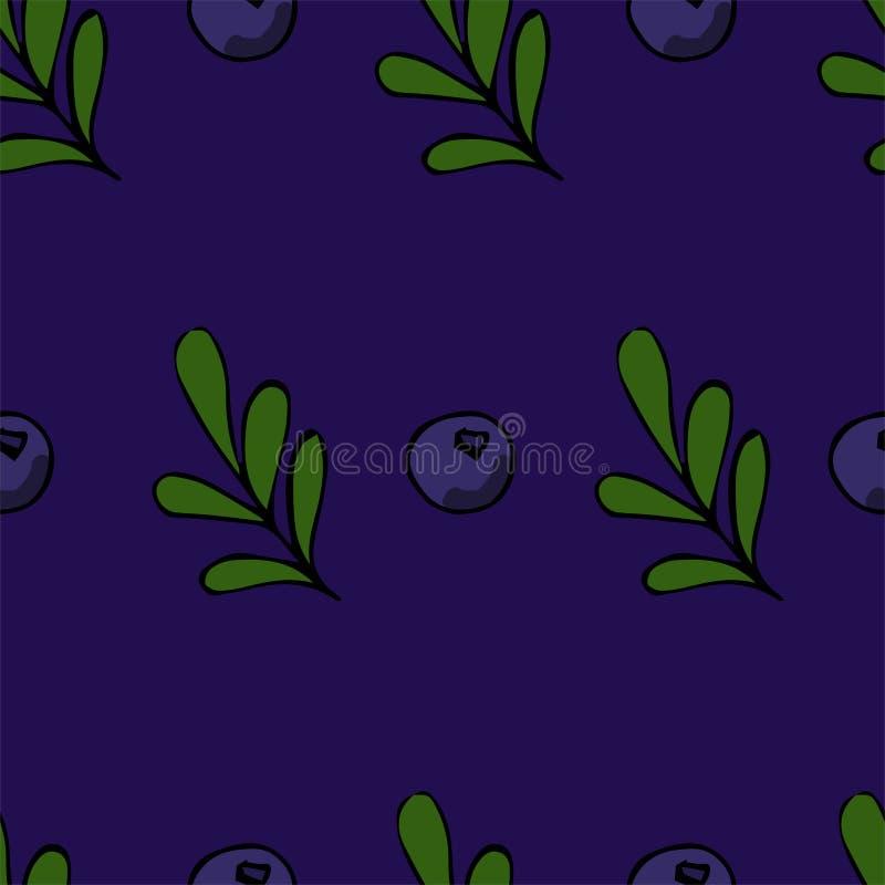 bezszwowy wzoru W r?ce rysuj?cy styl Dojrza?e czarne jagody i li?cie royalty ilustracja