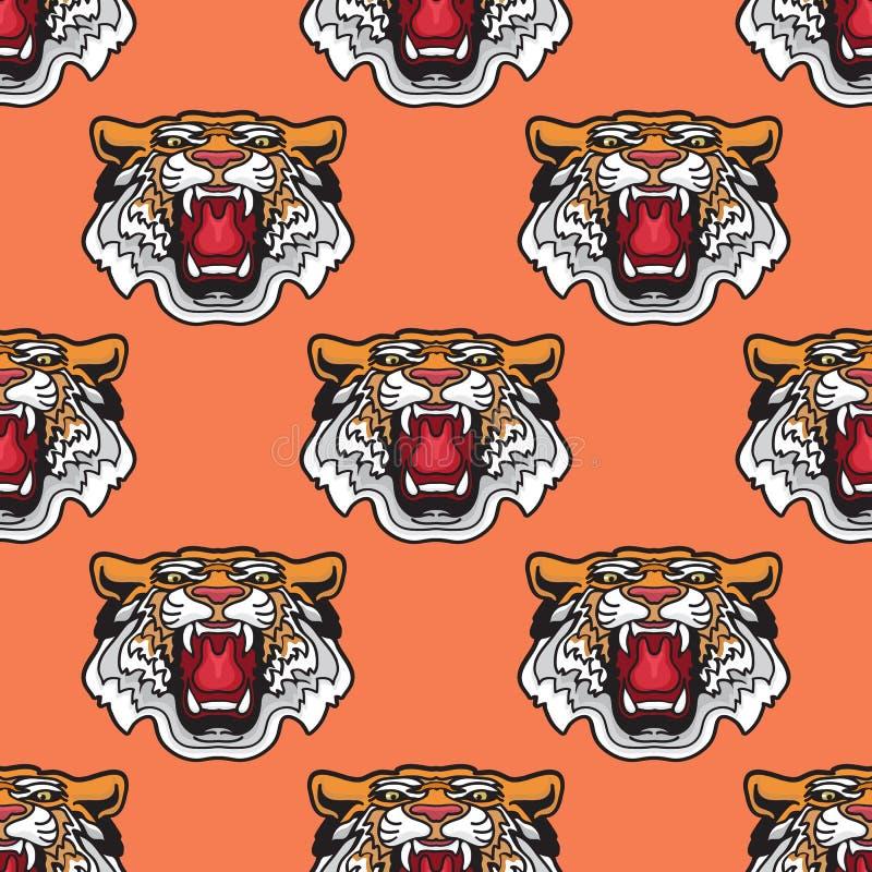 bezszwowy wzoru Wektorowa ilustracja kreskówka tygrysa głowa royalty ilustracja