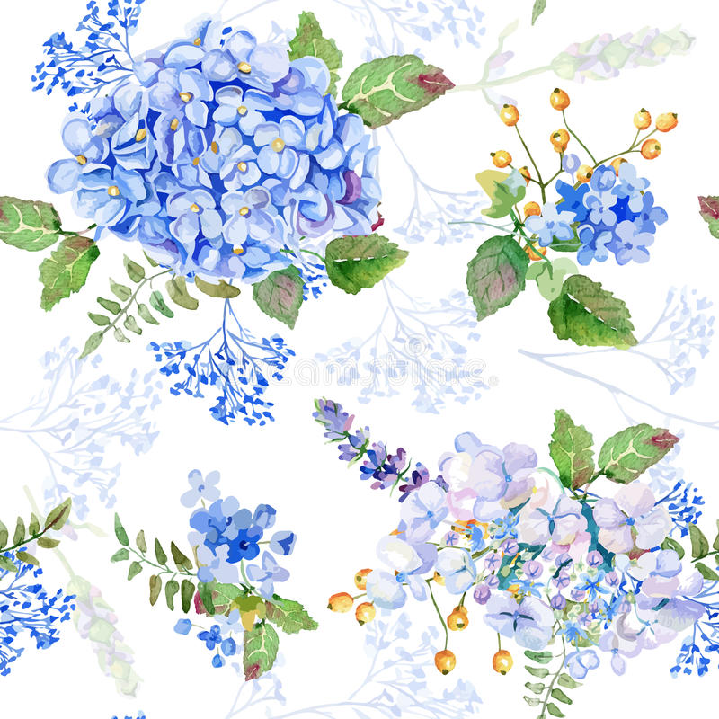 bezszwowy wzoru Wektorowej akwareli błękitna hortensja, lawenda royalty ilustracja