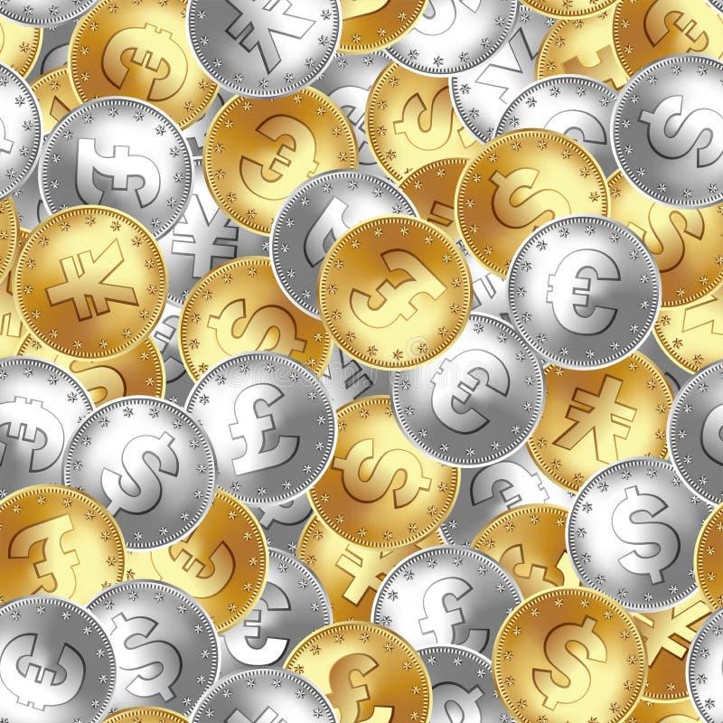 bezszwowy wzoru Złota i srebna moneta, pieniądze, kłaść w przypadkowym rozkazie ilustracji