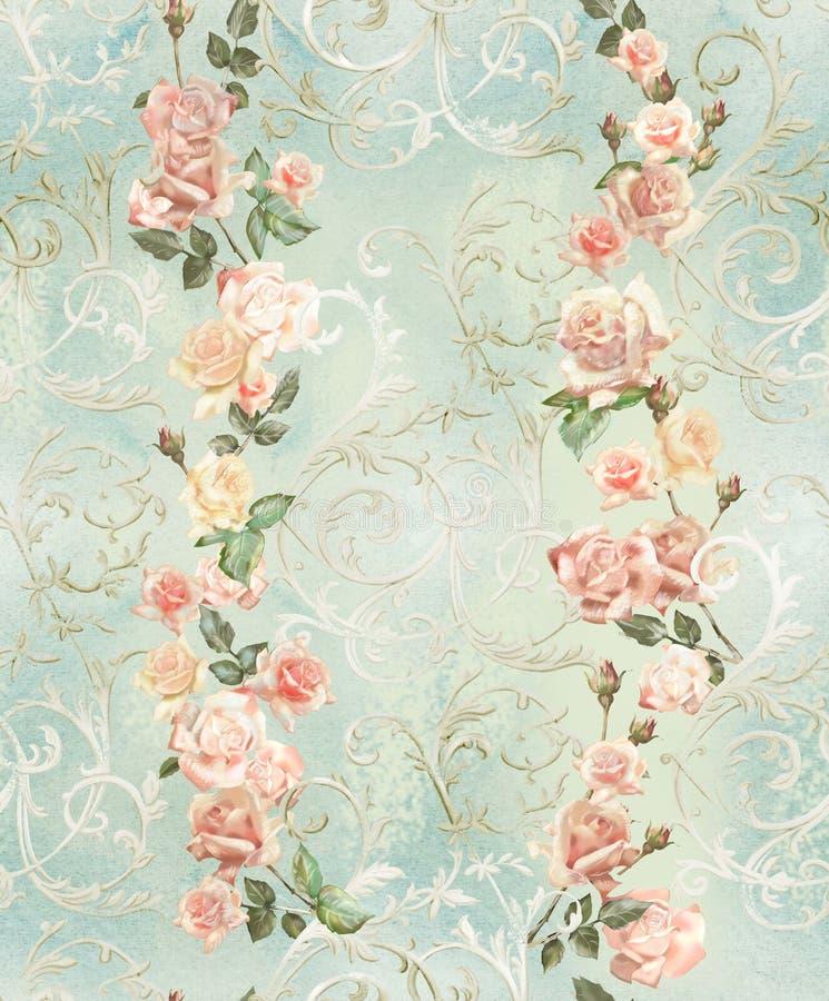 bezszwowy, wzorze, z delikatnymi różami i monogramami, podławy szyk, retro ilustracja wektor