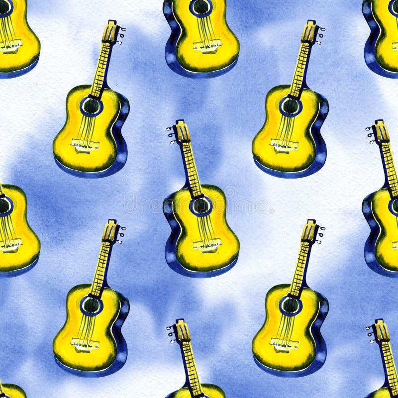 Bezszwowy wzorzec wodnobarwny, akustyczny, klasyczny, drewniany gitar do wyrobów włókienniczych, tapety, owijania, tkanin ilustracji