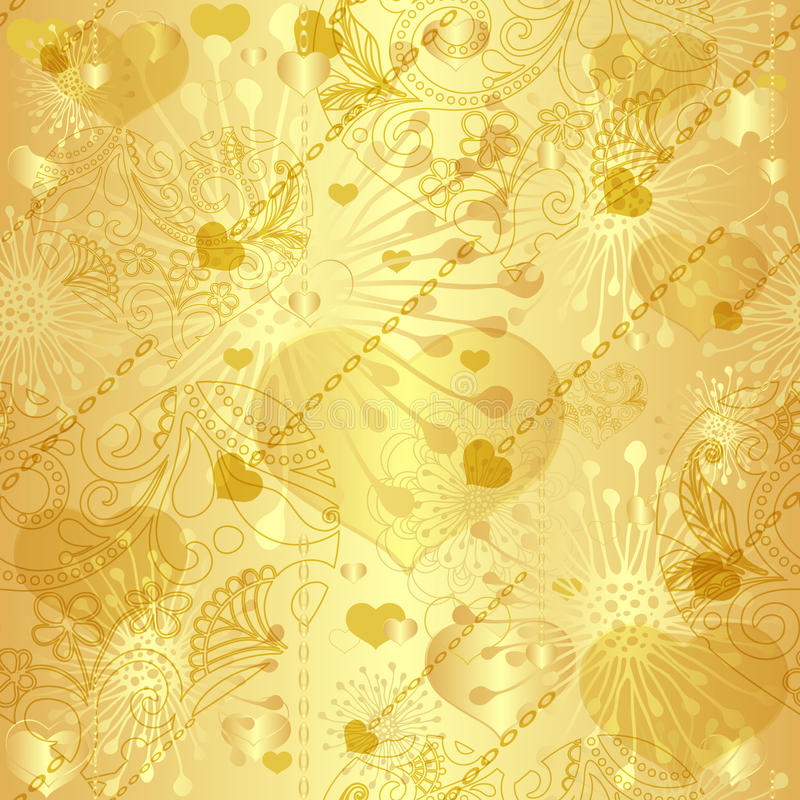 Bezszwowy złocisty valentine wzór ilustracji