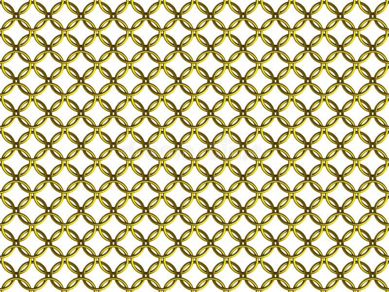 Bezszwowy złoty łańcuszkowej poczta pierścionku siatki wzór ilustracji