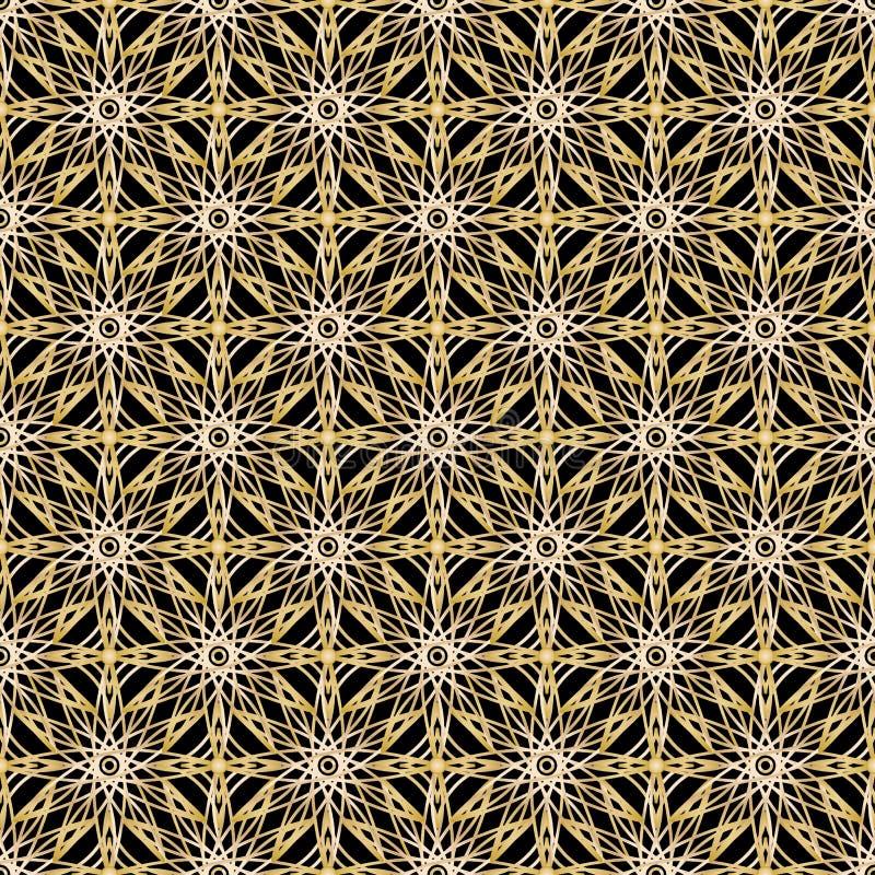 Bezszwowy złoty arabski geometryczny wzór Wektorowy tradycyjny muzułmański arabeskowy tło ilustracji