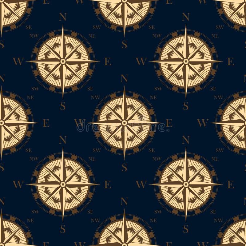 Bezszwowy złoty stylizowany kompas róży wzór ilustracja wektor