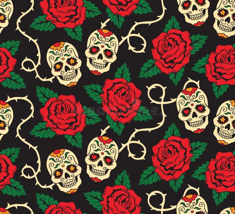 Bezszwowy z różami i czaszkami ilustracja wektor