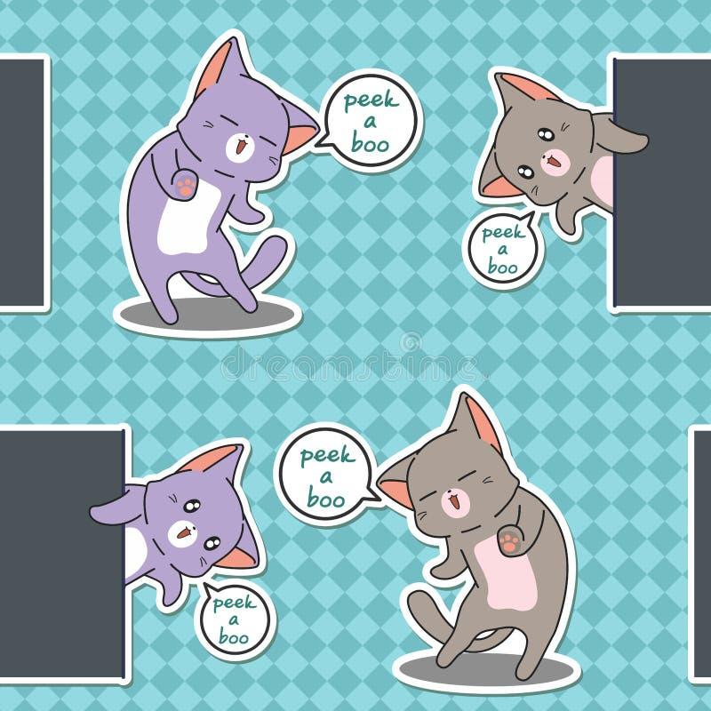 Bezszwowy zerknięcie okrzyki niezadowolenia koty deseniują royalty ilustracja
