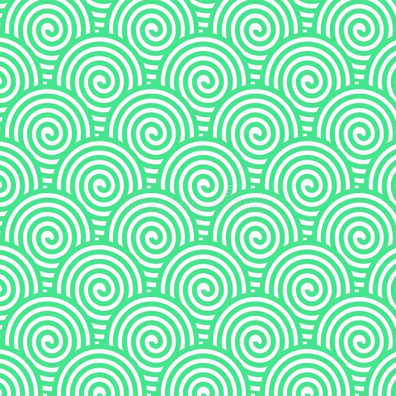 Bezszwowy zieleni spirali wzór dla Abstrakcjonistycznego tła ilustracji