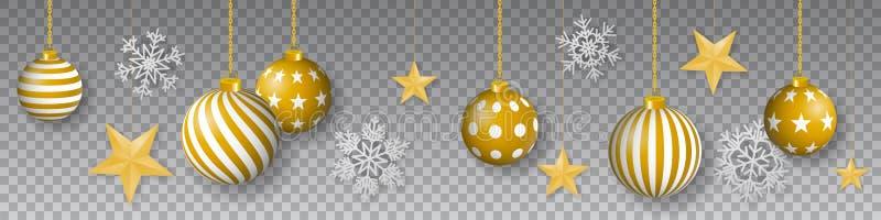 Bezszwowy zima wektor z wiszącymi złocistymi barwionymi dekorującymi boże narodzenie ornamentami, złotymi gwiazdami i płatek śnie royalty ilustracja