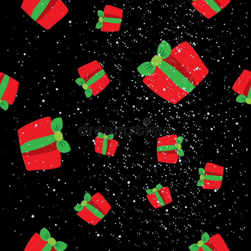 Bezszwowy zima wzór z czerwień prezenta pudełkami Płaski wektorowy Chris ilustracja wektor