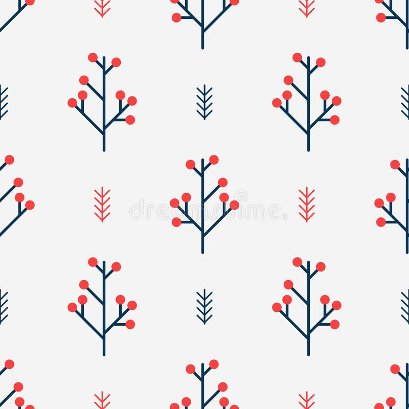 Bezszwowy zima wzór z czerwonymi jagodami Prosty wektorowy tło północny geometrical styl royalty ilustracja