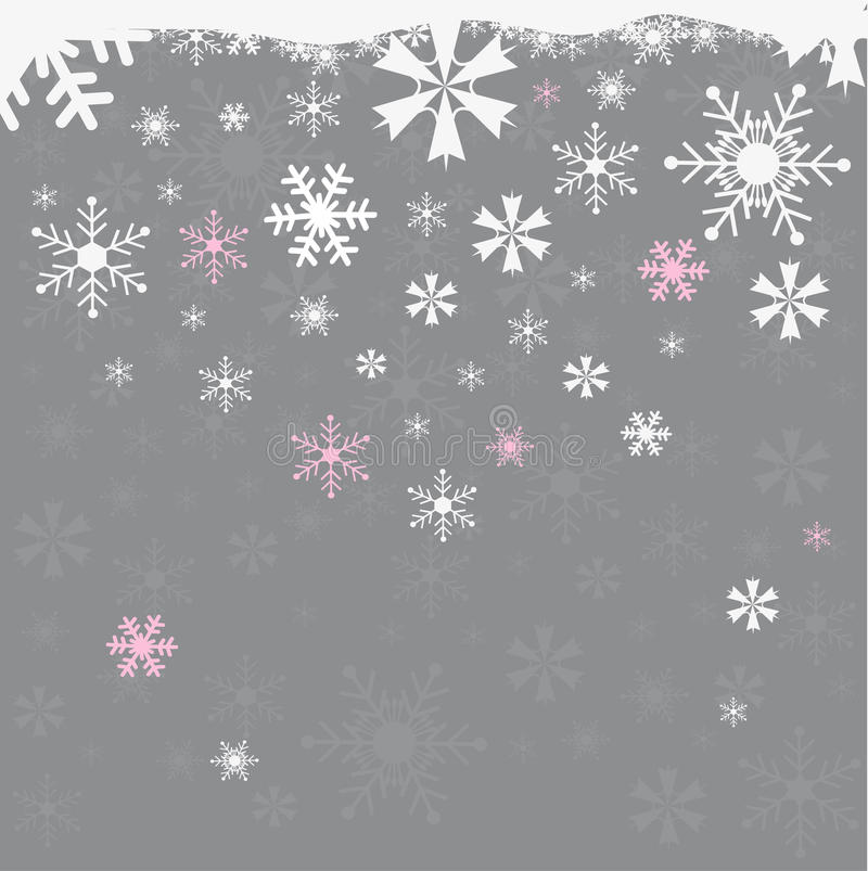 Bezszwowy zimy tło z płatkami śniegu ilustracji