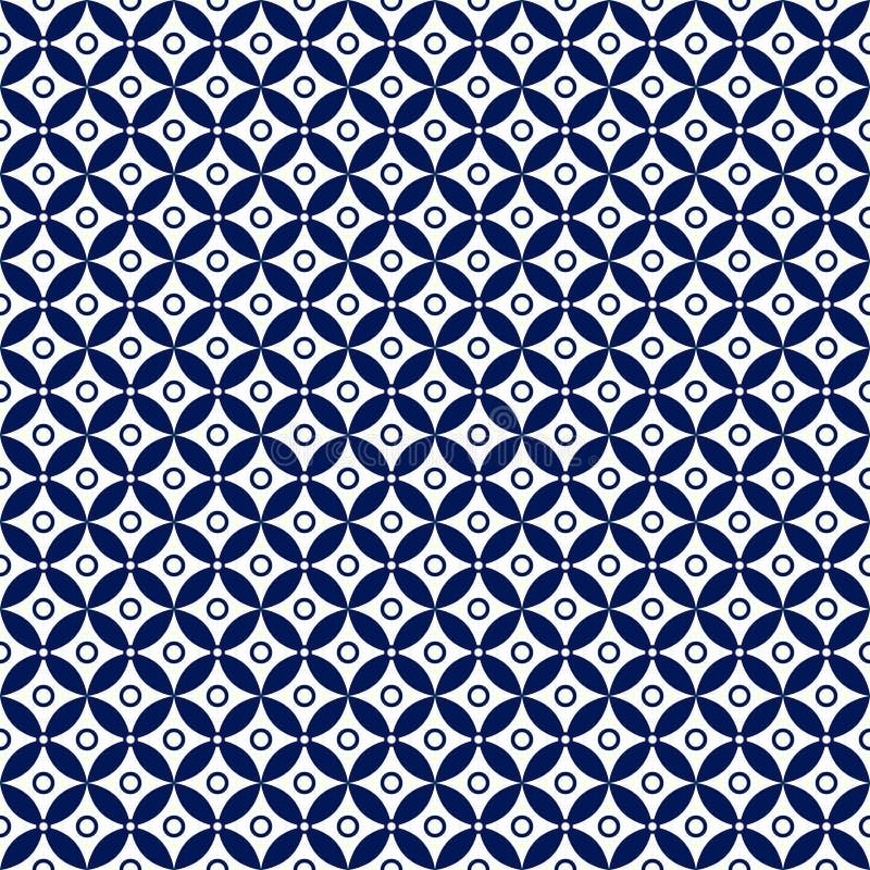Bezszwowy zmrok - błękit i okręgu wzór w Białym tle Kwitniemy royalty ilustracja
