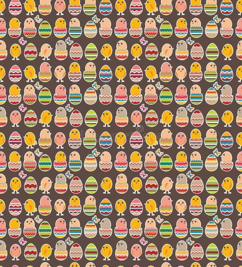 Bezszwowy zmroku wzór z Easter kurczakami ilustracja wektor