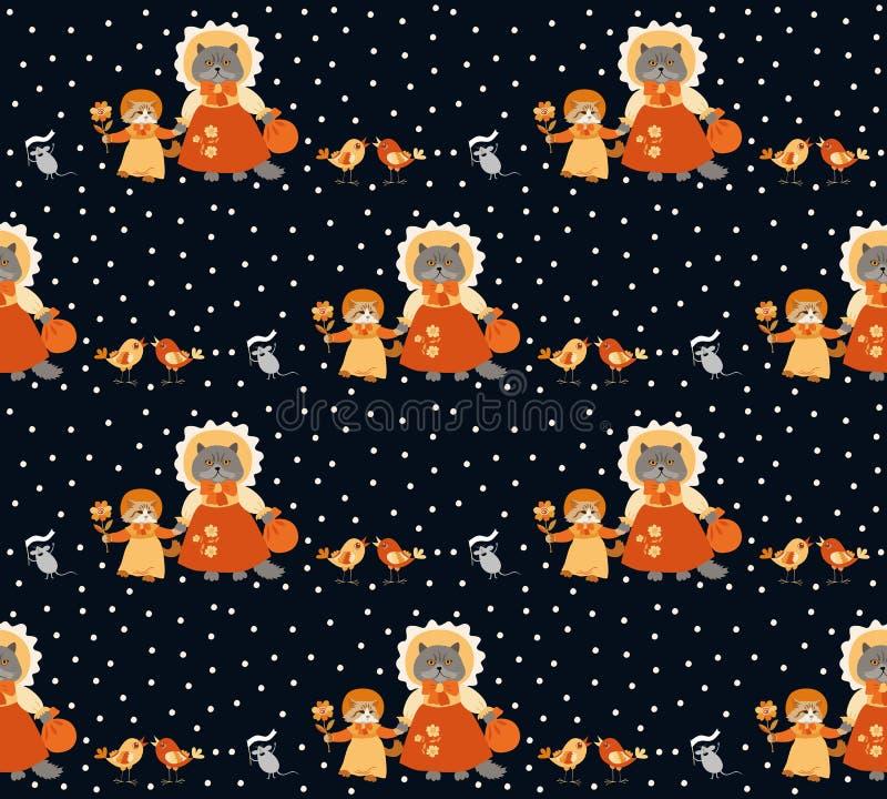 Bezszwowy zwierzę wzór z śmieszną figlarką, kotem, ptakami i mouses na polki kropki tle, royalty ilustracja