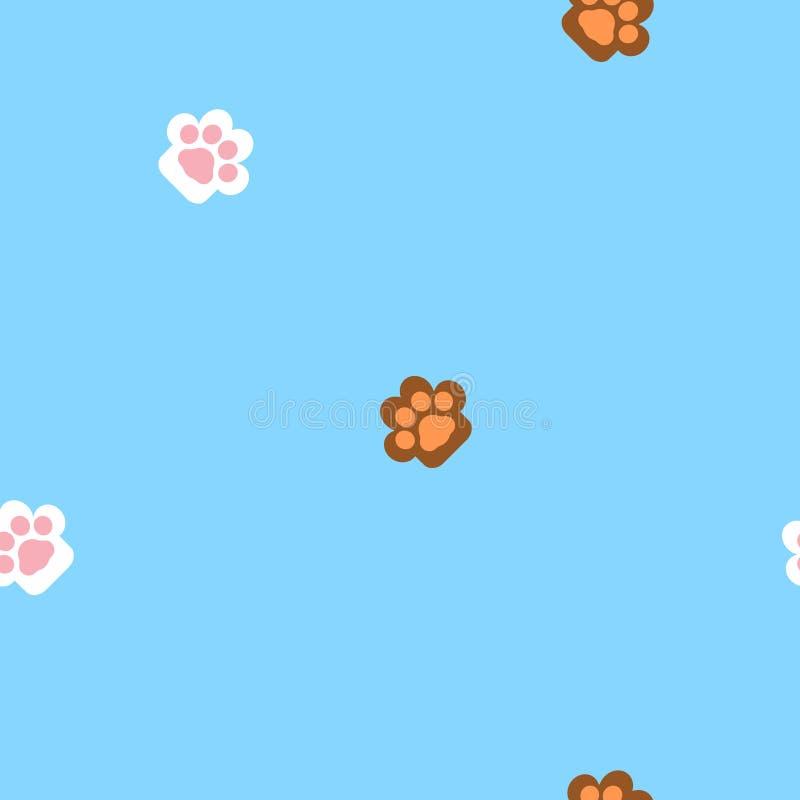 Bezszwowy zwierzęcy zwierzę domowe psa i kota druku łapy powtórki nożny wzór w błękitnym tle ilustracji