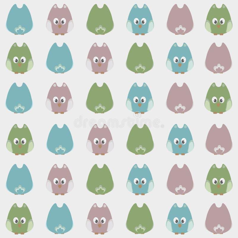 Bezszwowych ślicznych kreskówek sów ptaków deseniowy tło royalty ilustracja