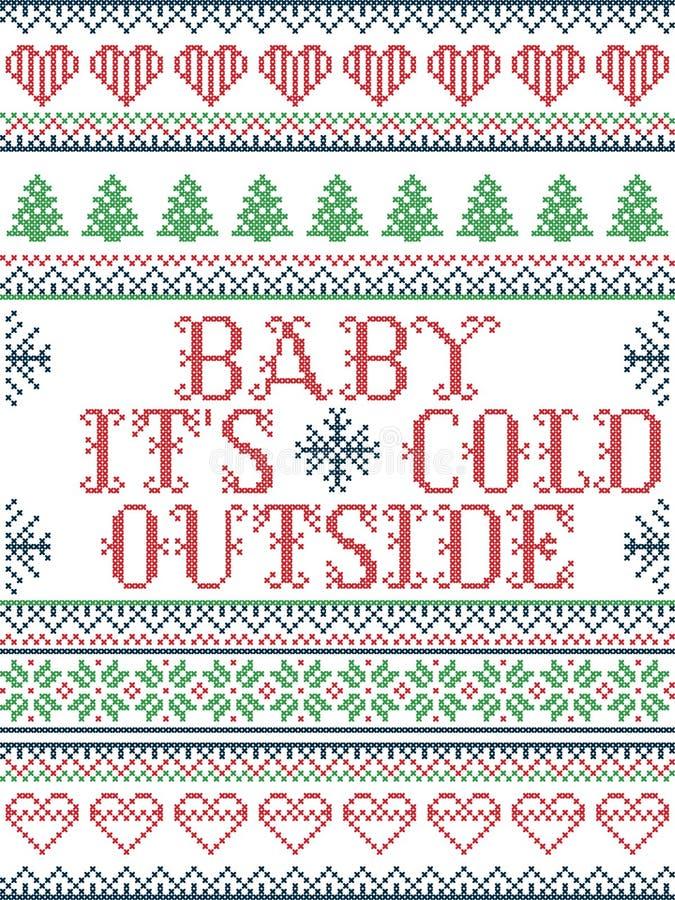 Bezszwowych bożych narodzeń deseniowy dziecko swój zimny outside styl, inspirowany Norweskimi bożymi narodzeniami, świąteczna zim ilustracja wektor