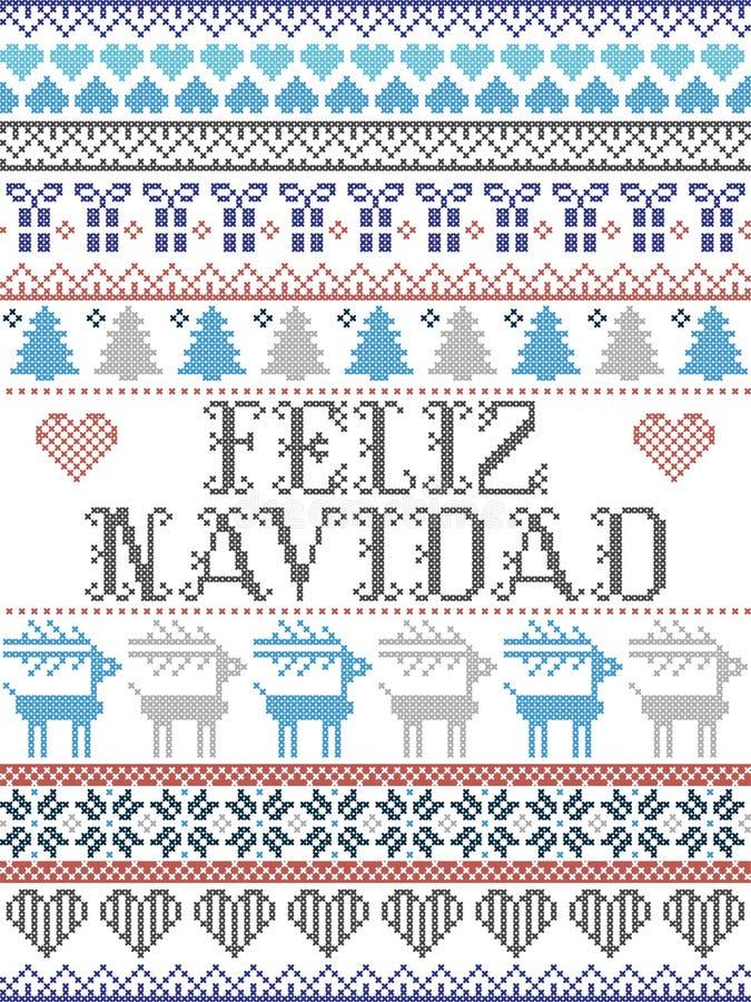 Bezszwowych bożych narodzeń Feliz Navidad skandynawa deseniowy styl, inspirowany Norweskimi bożymi narodzeniami, świąteczny zima  ilustracji