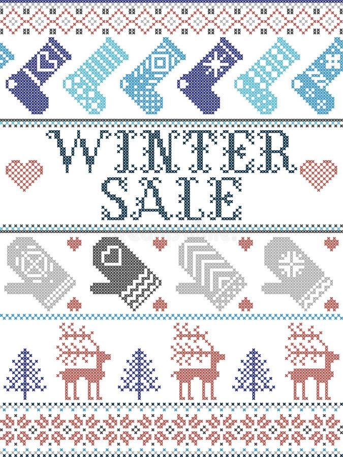 Bezszwowych bożych narodzeń zimy deseniowa sprzedaż inspirująca Norweskimi bożymi narodzeniami, świąteczna zima w przecinającym ś ilustracja wektor