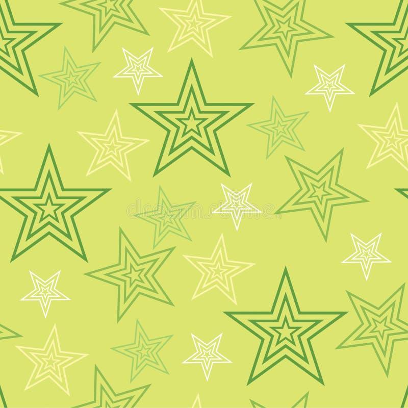 Bezszwowych gwiazd tła abstrakta Zielony wzór 1 ilustracja wektor
