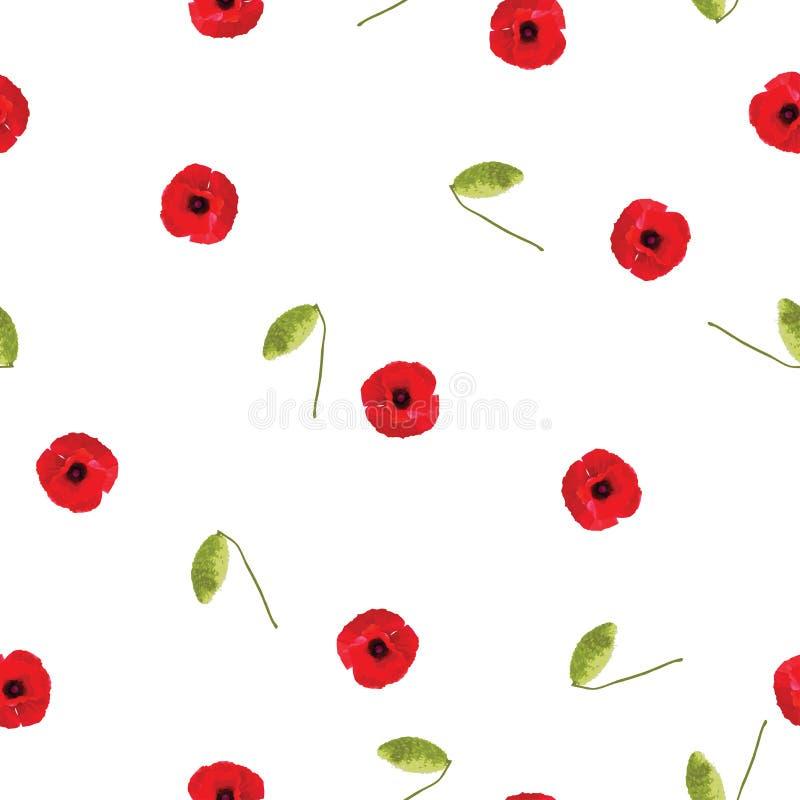 Bezszwowych kwiecistych deseniowych czerwonych maczków mali kwiaty z pączkiem na bielu ilustracja wektor