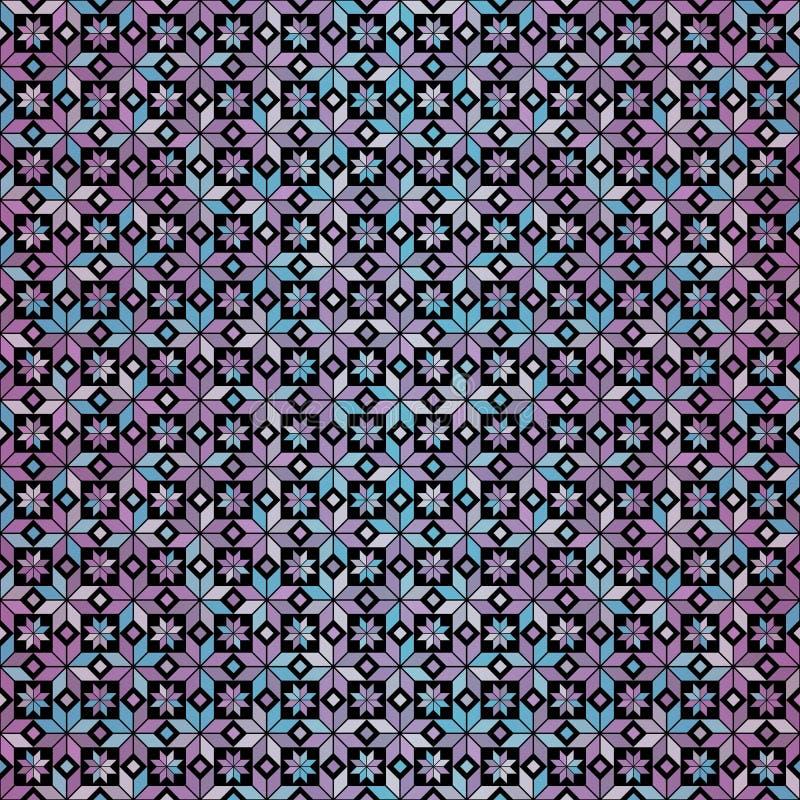 Bezszwowych menchii geometryczny gradientowy kwiecisty wzór na czarnym tle ilustracja wektor