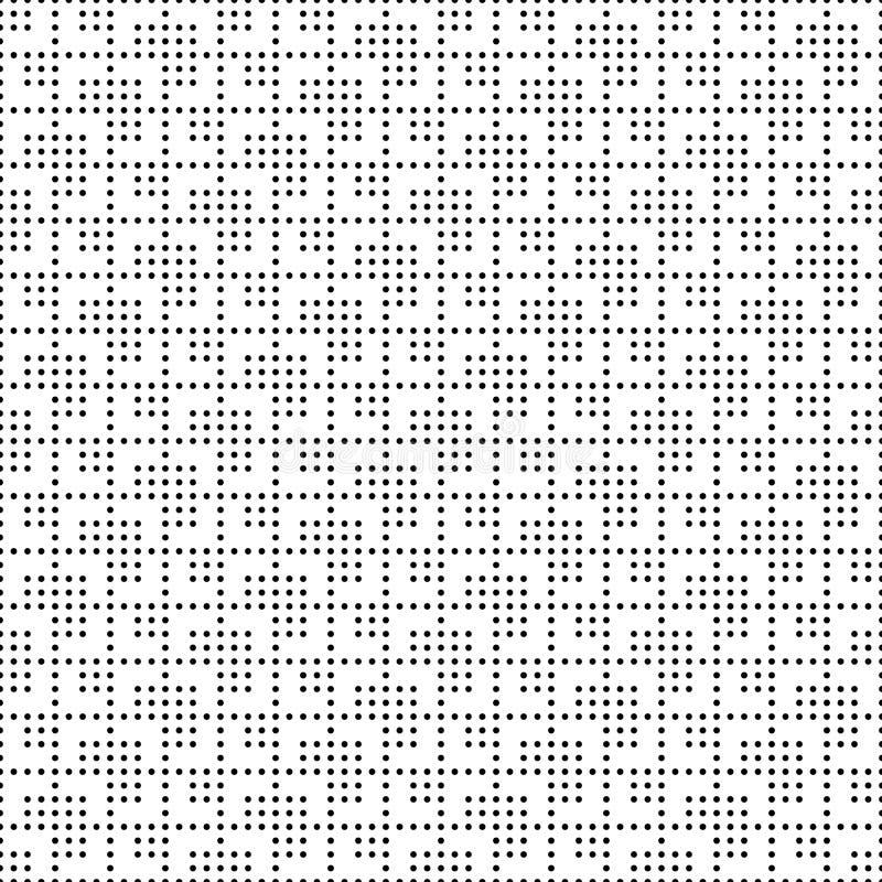 Bezszwowych monochromatycznych kropek siatki kwadratowy wzór Prosta czarna biała geometryczna tekstura dla tkaniny i odzieży wekt royalty ilustracja