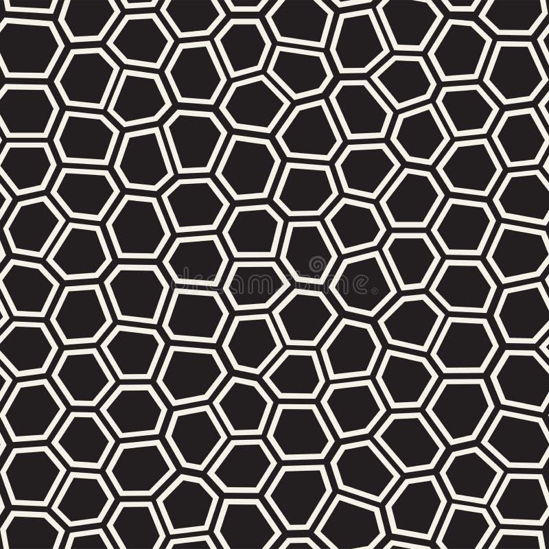 Bezszwowych nieregularnych linii mozaiki wektorowy wzór Abstrakcjonistyczna chaotyczna tessellation tekstura ilustracja wektor