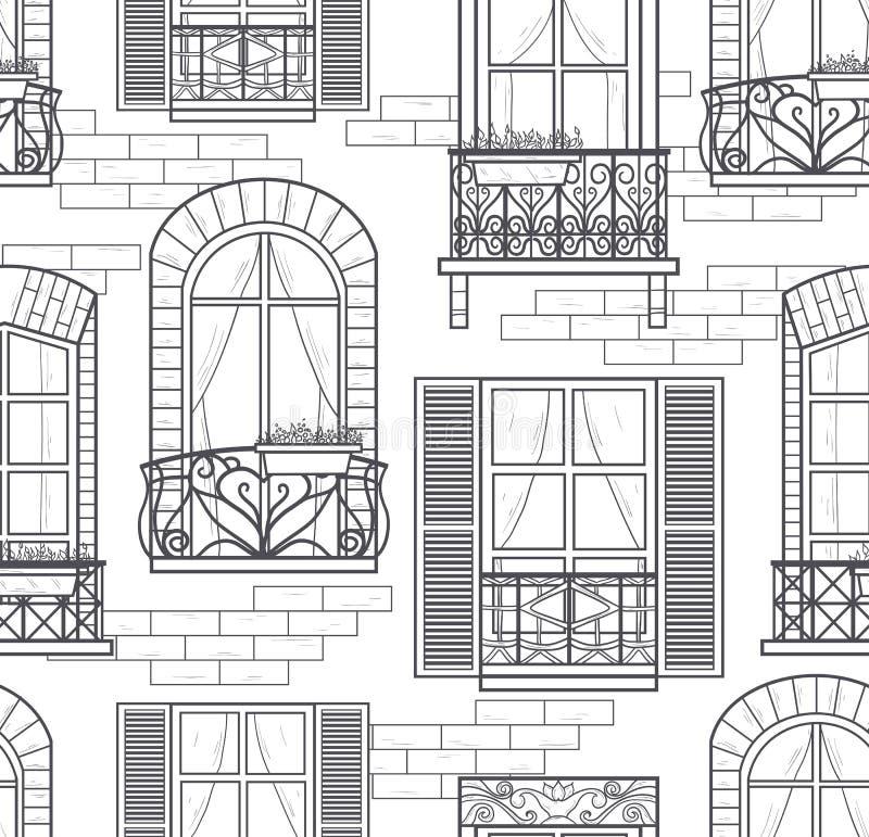 Bezszwowych okno bezszwowy wzór ilustracja wektor